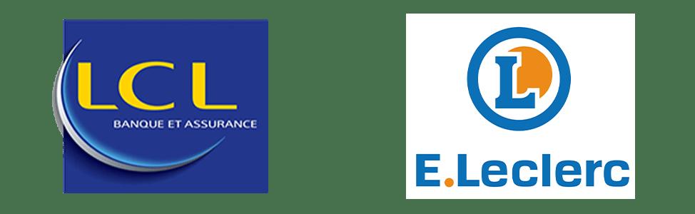 logo de banque et grande enseigne avec formes différentes