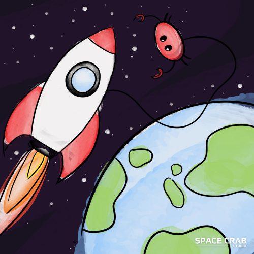 illustration d'un crabe à coté de sa fusée dans l'espace