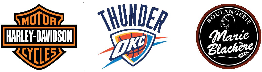 Logo blason ou emblème Harley DAvidson, Thunder d'Oklahoma et Marie Blachère