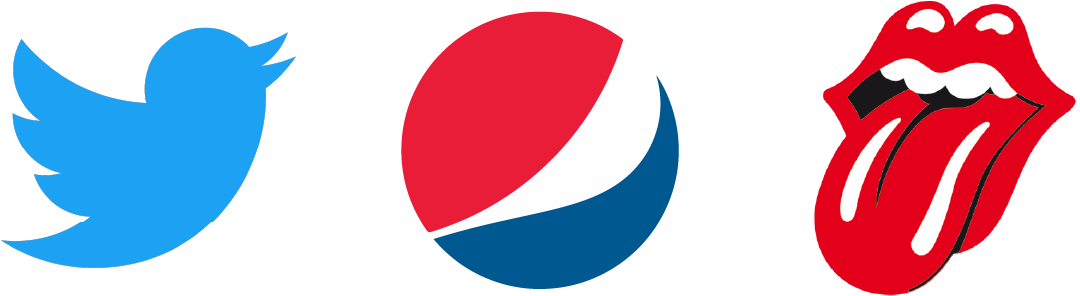 Logos symboles et illustratifs de Twitter, Pepsi et des Rolling Stones