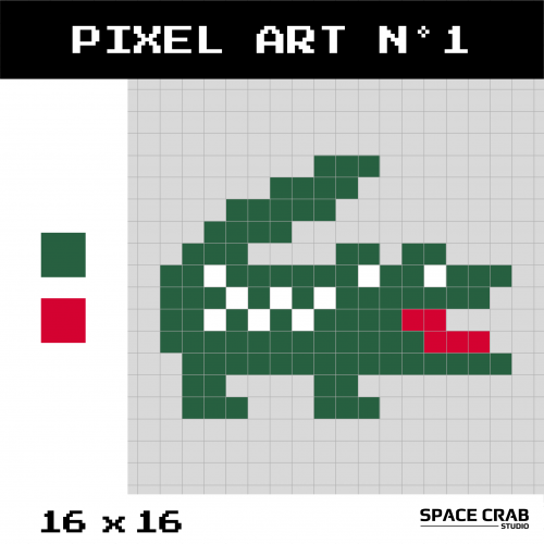 Logo pixel art Lacoste 16 par 16