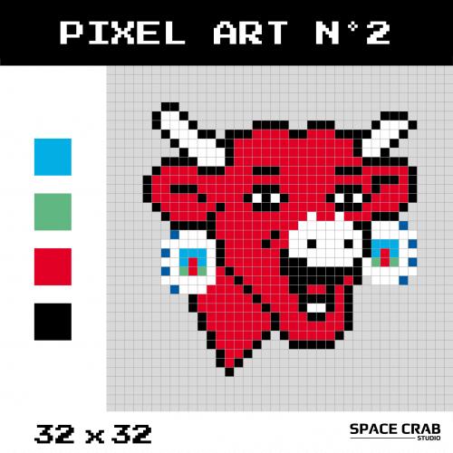 Logo pixel art La Vache Qui Rit 32 par 32