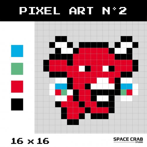 Logo pixel art La Vache Qui Rit 16 par 16