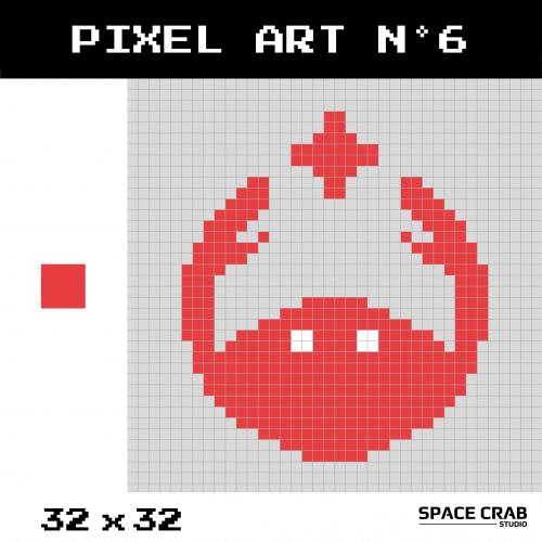 Logo pixel art Space Crab Studioen 32 par 32