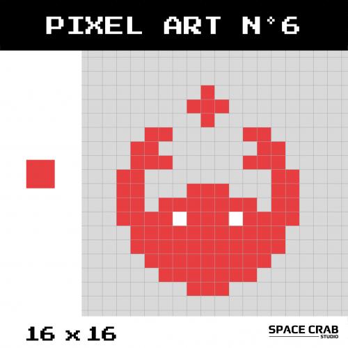 Logo pixel art Space Crab Studioen 16 par 16